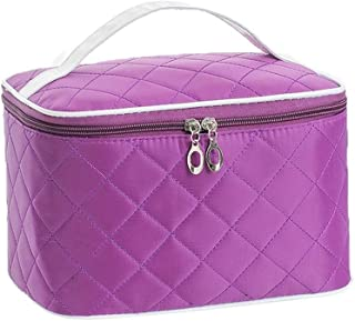 FYXKGLa Makeup Box Large Space Travel Cosmetic Case Portable with Handle Storage Bag Cosmetic Bag (Color : Purple)