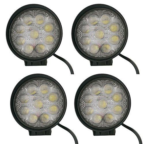 LARS360 27W 5D LED Scheinwerfer Arbeitsscheinwerfer Offroad Flutlicht Rückfahrscheinwerfer Zusatzscheinwerfer Scheinwerfer Für SUV, UTV, ATV (4X27W Runde)