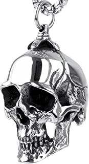 Mens Gothic Biker Large Heavy Skull Stainless Steel Pendant Necklace Silver Black