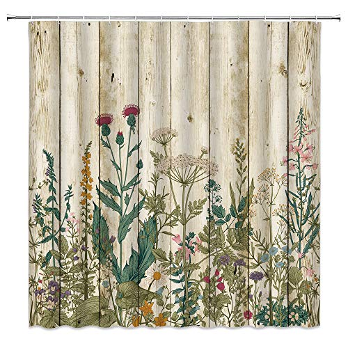 XZMAN Floral Shower Curtain Vintage Floral Herbs and Wild Flowers Botanical Green Leaves Colorful Plants Rustic Wood Plank Farmhouse Bathroom Decor Quick Drying Polyester Fabric Set 70 Inch with Hooks