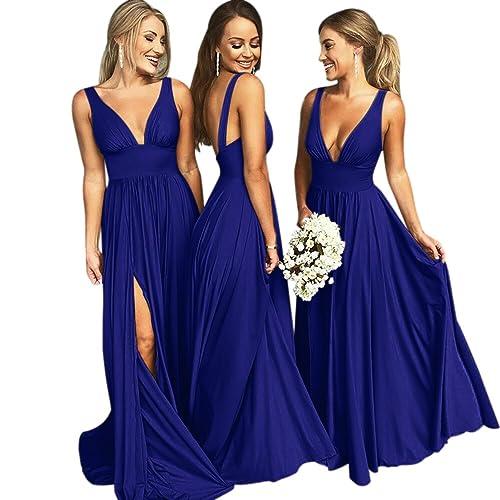 3b9d34cb4f VinBridal V-Neck Backless Long Slit Side Beach Wedding Bridesmaid Dresses