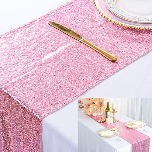 Chemin de table 12 x 90 pouces chemin de table à paillettes or rose paillettes couverture de table à manger chemin de table décor à la maison chemin de table pour Noël (12 x 90 pouces, or rose)