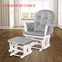 Glider Rocking Chair Replacement Cushions Velvet Washable for Chairs & Ottoman Light Grey