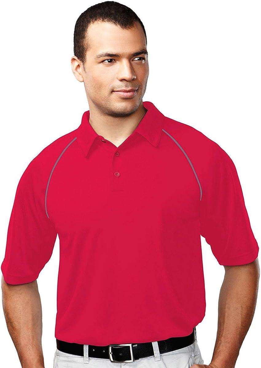 Tri-Mountain Men's 227 Dauntless Polo S/S Polo Shirt (4X-Large, Red/Gray)
