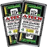 A-Tech 8GB (2x4GB) DDR2 800MHz SODIMM PC2-6400 1.8V CL6 200-Pin...