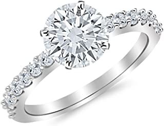 3.43 Carat t.w. 14K White Gold Classic Prong Set Diamond Engagement Ring with a 3 Ct Forever Brilliant Round Moissanite Center