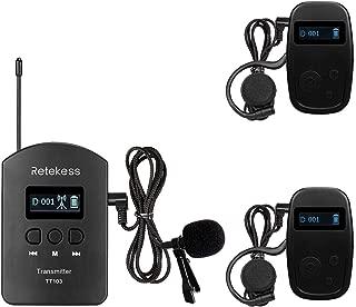 Retekess TT103 Wireless Tour Guide System Church Translation Audio 460ft 140m Long Range for Tour Church Court(1 Transmitter and 2 Receiver)