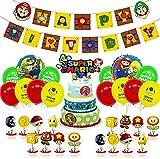 Super Mario Decoración para Fiestas de Cumpleaños,Super Mario Kit de Globos Decoración para Fiestas,Banner de Happy Birthday Adorno de Torta Espiral Adornos de Casa para Fiestas