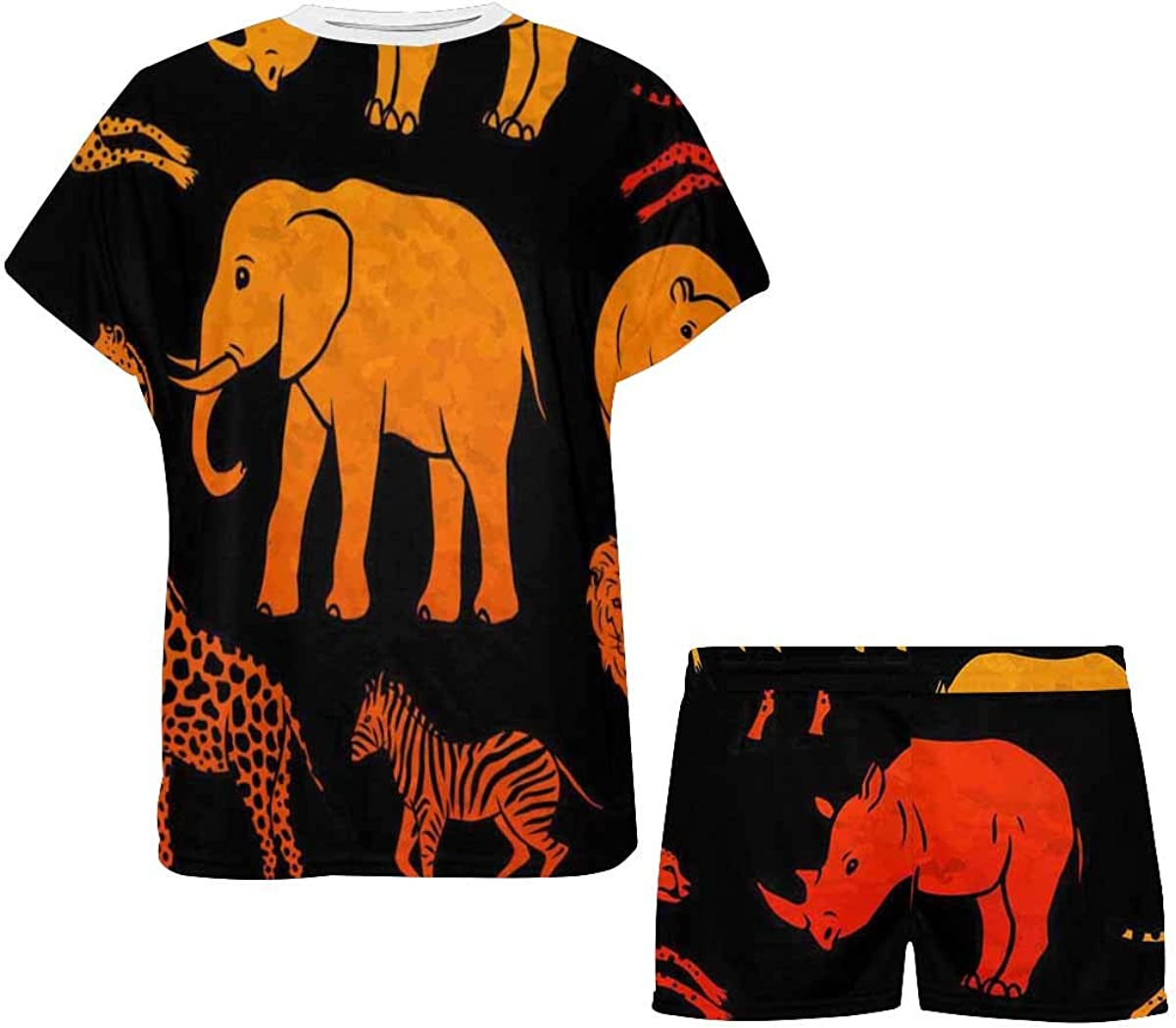 INTERESTPRINT African Animal Women's Breathable 2 Piece Shorts Pajama Sleepwear Set