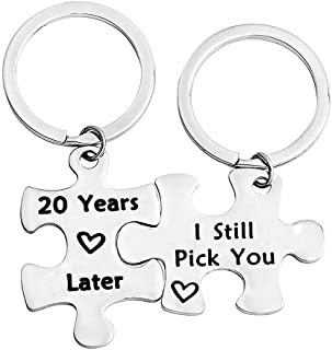 1,5,10,20 Years Later I Still Pick You Key Ring Stainless Steel Jigsaw Puzzle Piece Matching Pendant Keychain Set Couple Jewelry