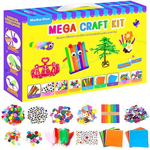 WuikerDuo Kit Manualidades niños, juegos de materiales creativos coloridos que incluyen pegamento con purpurina, pompones, limpiadores de tuberías, palillos de paletas