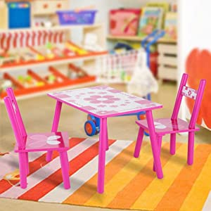 Set Table and Chairs Fantastic Wooden with Flowers for Ninos Learn Paint Home and School