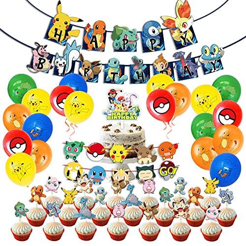 shengping Birthday Party Set PokéMon Pikachu Theme Latex Balloon Pull Flag Cake Flag Set