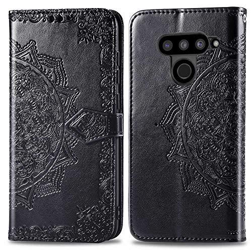 Bear Village Hülle für LG V50 ThinQ, PU Lederhülle Handyhülle für LG V50 ThinQ, Brieftasche Kratzfestes Magnet Handytasche mit Kartenfach, Schwarz