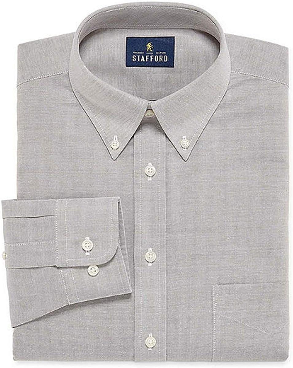 Stafford Travel Wrinkle-Free Stretch Oxford Long-Sleeve Dress Shirt Tall