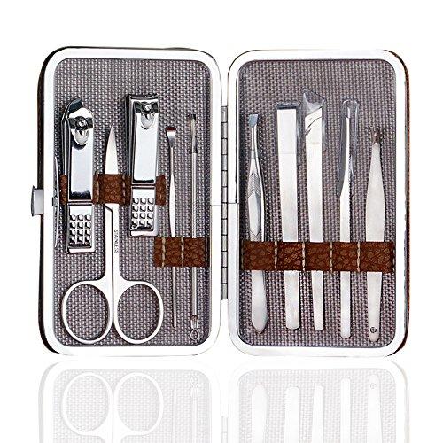 DaoRier Nagelknipser Set Maniküreset 10-Teilig Braun Lederbox Nagelscheren Nagelpflege Pediküre Maniküre Nagelknipser Set