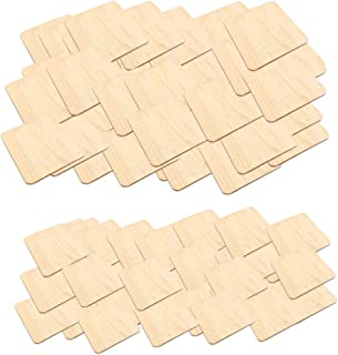 Flameer 300-Pack Wooden Squares Unfinished Wood Pieces, Natural Rustic Craft Wood for Home Decoration, DIY Supplies - 2 & 4cm