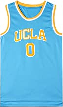 Aojing California Men's Basketball Jerseys Westbrook 0 UCLA New Fabric Embroidered Unisex Sleeveless T-Shirt Basketball Uniform NBA Swingman Jersey