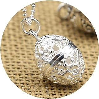 AMDXD Jewellery Men Women S925 Sterling Silver Pendant Necklaces Plum Blossom Hollow Gawu Box Pendant