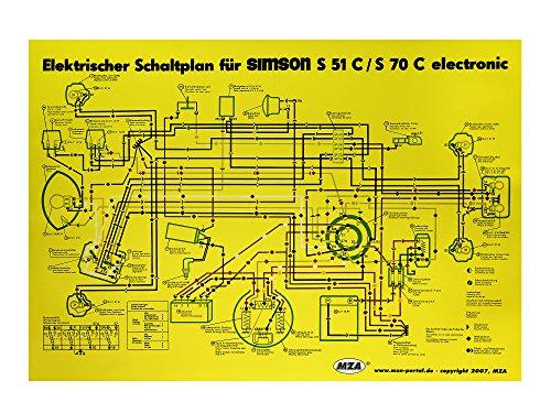 MZA Schaltplan Farbposter (35x50cm) Simson S51, S70 C 6V elektronic