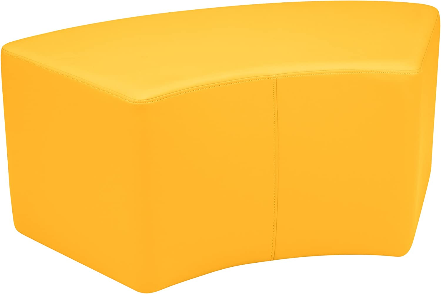 Sprogs Vinyl Soft Seating Curved Stool Bench, 18  H, Yellow, SPG1013YEA