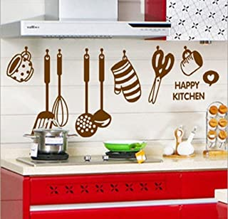 Decals Design StickersKart Wall Stickers Stylish Kitchen Art (Brown)