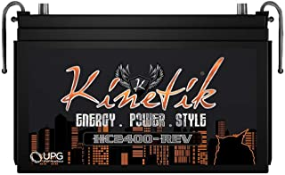 Kinetik HC2400-REV 2400 Watt 12V Car Battery/Power Cell High Current With Advanced AGM Technology