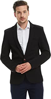 Pishon Men's Slim Fit Suits Casual One Button Flap Pockets Solid Blazer Jacket
