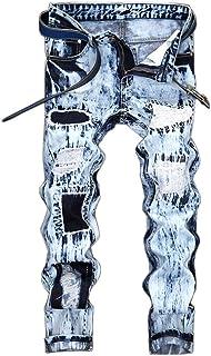 Mens Jeans Moto Style Punk Pants Distressed Patched Destoryed Denim Trousers