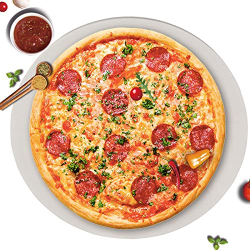 GGC 15 inch Pizza Stone for Ovens, Grill and BBQ to Cook Perfect Crispy Crust Pizza, Bread and More, Smooth Round Shape, Durability Baking Stone