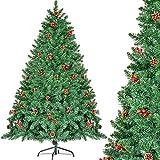 CHORTAU Albero di Natale 180cm con pigne e Bacche, 800 Punte di Rami Albero Artificiale, V...
