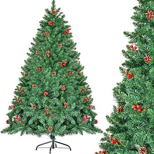 CHORTAU Albero di Natale 180cm con pigne e Bacche, 800 Punte di Rami Albero Artificiale, Verde, Materiale in PVC, ignifugo, Impermeabile 1,8 m Albero di Natale con Supporto in Metallo