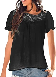 Padaleks Womens Casual Cotton Scoop Neck Short Sleeve Tops Lace Patchwork Blouse Loose Pullover Shirts S-XXL