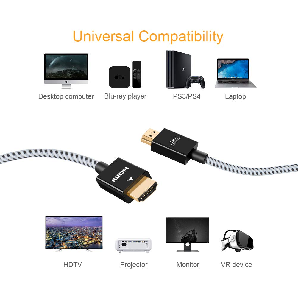 HDMI to HDMI Cord for HDMI Splitter 1 in 4 Out,NEWCARE High Speed HDMI Cable for Xbox,PS3//PS4 Fire Stick tv 4K,Game Consoles PC HDTV Projector and More-3.9ft