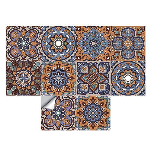 Dzmuero Azulejos Adhesives,10 Piezas Cenefas Adhesivas,20cm*20cm Pegatinas Renovación pared Azulejos Cerámica Estilo Europeo Pegatinas de pared Impermeables y a Prueba de Aceite para Baño y Cocina