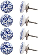 Indian-Shelf Handmade Ceramic Leaf Drawer Knobs Flat Kitchen Pulls Cabinet Handle(Blue, 1.5 Inches)-Pack of 8