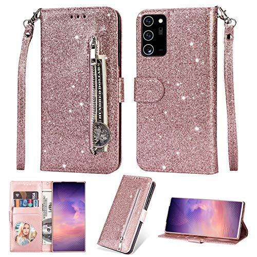 Miagon für Samsung Galaxy Note 20 Ultra Glitzer Reißverschluss Hülle,Bling Wallet Leder Handyhülle Multifunktion Geldbörse Magnetisch Standfunktion Flip Etui Case Cover