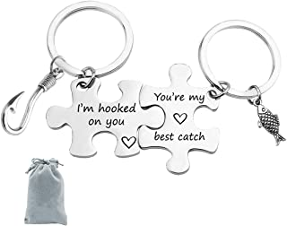 Couple Keychain I'm Hooked on You You're My Best Catch Puzzle Couple Keychain Set Fisherman Gift Fishing Lovers Jewelry Gi...