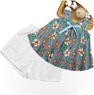Favorite-FV Conjunto de Ropa de Verano para niñas, Chaleco + Pantalones Cortos a Cuadros, 2 Unidades