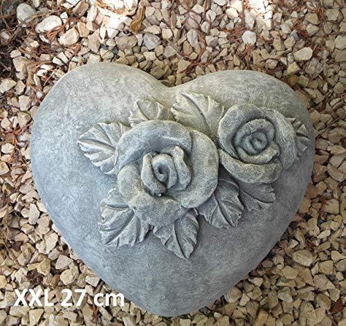 WMH XXL Herz Grabherz mit Rosen Grabschmuck Dekoherz Dekoration 27 cm