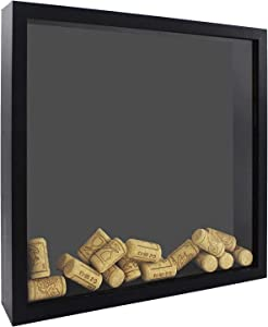 Space Art Deco, 12x12 Shadow Box Display Case - Top Loading Wood Frame - Drink Cap,Ticket Stubs, Airline Tickets,Stamps and More Holder/Collector - Wall Mounting - Swivel Tabs (12x12,Black)