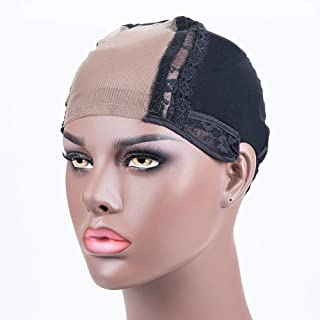 4x4 U Part Swiss Lace Wig Cap With Adjustable Straps Black Lace Cap Glueless Hairnets For Making Wigs(M)