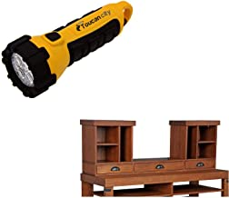 Toucan City LED Flashlight and OS Home and Office Furniture Indrial Collection Light Brown Hewn Pallet Rough Sawn Wood 3-D...
