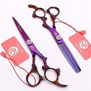 Professional Barber 5.5/6.0 inch Hair Snijden Scharen Verdunnende Scharen High-End 9CR Steel Purple Set kappers Stylist Sa...