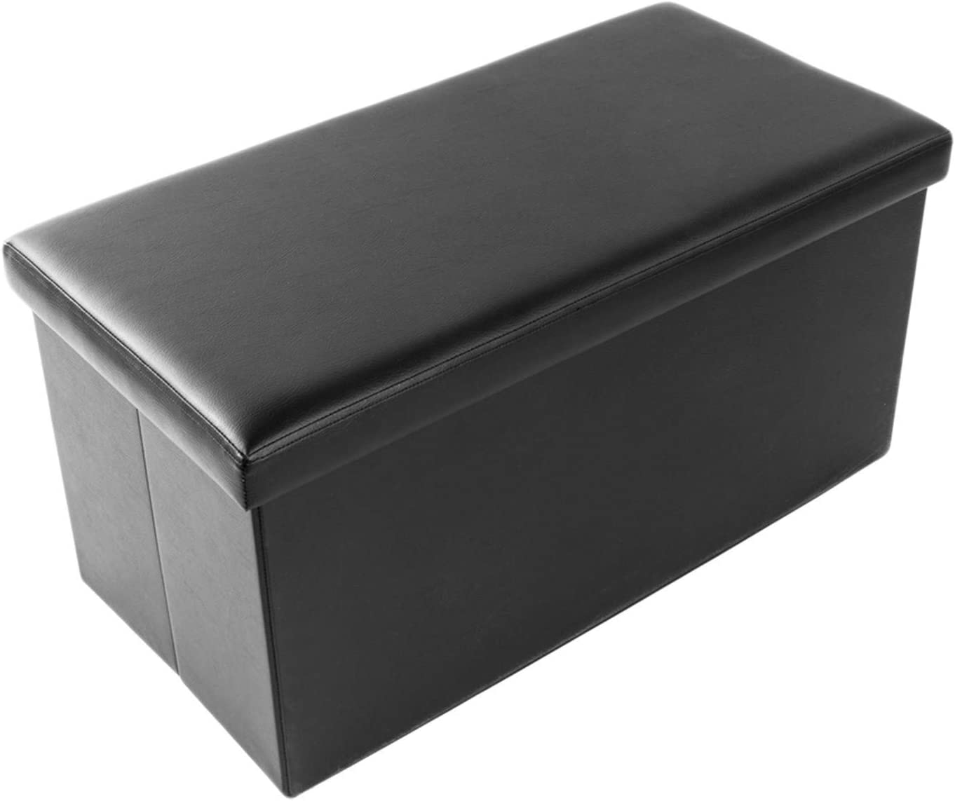 Trlec At the price gt4-DL PU Leather Max 44% OFF Footstool 76x38x38cm Black Smooth