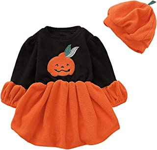 Halloween Costumes for Baby Girls Long Sleeve Pumpkin Print Dress Halloween Skirts Clothes