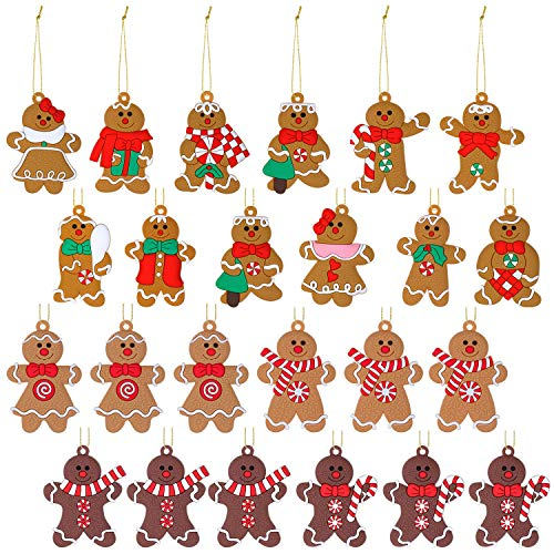 24 Pieces Gingerbread Men Christmas Ornament for Christmas Tree 3 Inch Tall Gingerbread Figurines Ornaments Hanging Decorations Clay Gingerbread Man Christmas Tree Decoration for Party, 16 Styles
