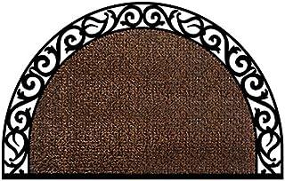 "GrassWorx Clean Machine Wrought Iron Half Moon Plant Life Doormat, 24"" x 36"", Coffee Bean (10374072)"