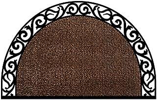 GrassWorx Clean Machine Wrought Iron Half Moon Plant Life Doormat, 24