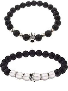 ISAACSONG.DESIGN 8mm Beaded Stretch Bracelet Set for Women and Men- Glowing Mermaid Stone, Matte Onyx, Crown Charm Stackable Multistrand Bangles for Unisex
